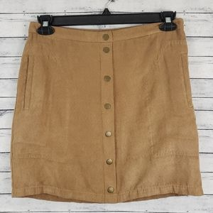 Metaphor | Tan Faux Suede Button Front Mini Skirt